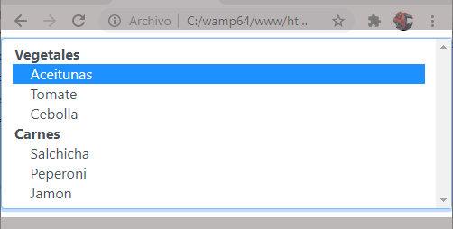 Lista desplegable HTML con bootstrap