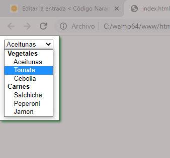 Ejemplo de una lista desplegable o combo box agrupada.