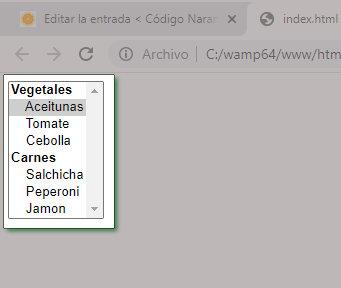 Lista desplegada en HTML